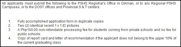PSHS application requirements