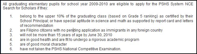 eligibility requirements for PSHS
