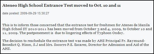 Ateneo High School entrance test schedule