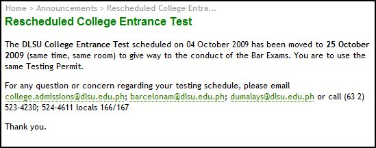 DLSUCET schedule change
