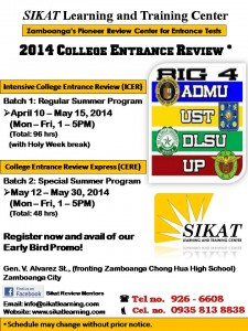 College Entrance Review (UPCAT, ACET, USTET, DLSUCET)