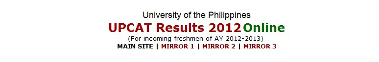 UPCAT Results 2012